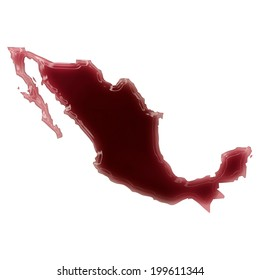 Pool of blood (or wine) that formed the shape of Mexico. (series)