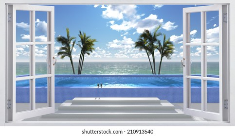 Pool facing the ocean, view from the window.
