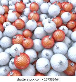 Pool of golf balls, xmas balls, baubles, 3d rendering
