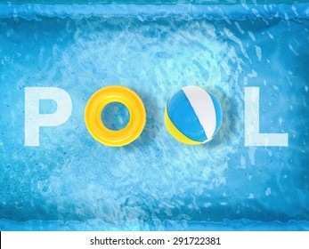pool letter on pool background top view