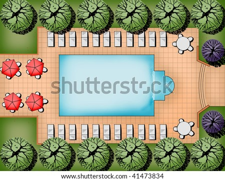 pool and patio landscape design layout