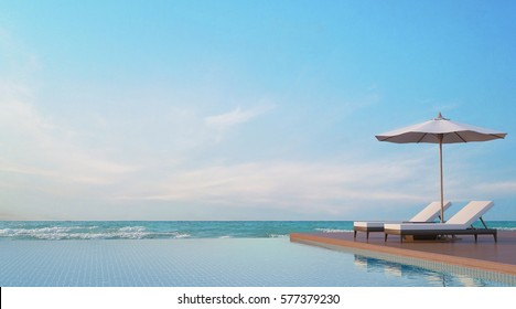Pool terrace with sea view 3d rendering image,A place surrounded by the sea ,There are wood floor,rattan sunbed ,fabric umbrella
