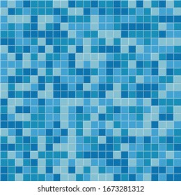 Pool tile seamless pattern. Blue mosaic tiles background. Raster copy