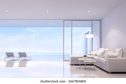 Pool villa living room 3d render. There are white room. Furnished with beige fabric sofa .There are large open slidding door overlooking to terrace,swimming pool and sea view.