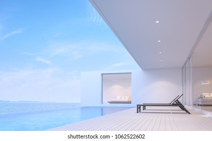 Pool villa terrace 3d render.There white wooden floor.Furnished with black sunbed. There are white wooden floor overlooks to borderless swimming pool and sea view.