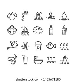 Pool and Water Signs Black Thin Line Icon Set Include of Sea, Drink, Drop and Rain. illustration of Icons