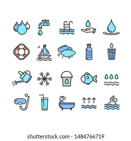 Pool and Water Signs Color Thin Line Icon Set Include of Ocean, Bottle, Droplet and Tap. illustration of Icons