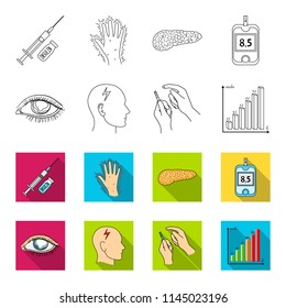 Poor vision, headache, glucose test, insulin dependence. Diabetic set collection icons in outline,flat style bitmap symbol stock illustration web.