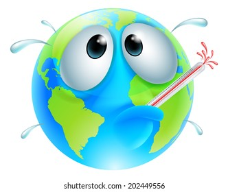 Poorly globe concept of a globe with a fever sweating and bursting a thermometer. Could be a concept for global warming
