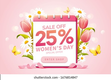Pop up ads for for International Women's Day sale, designed with a calendar surrounded by lovely tulips and daisies