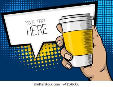 Pop art advertise poster. Man, guy hand hold paper hot tea coffee mug. Strong wow finger, mock up. Comic text cartoon speech sale bubble, balloon cloud box. Popart halftone illustration.