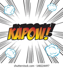 pop art background office stamp with the word KAPOW