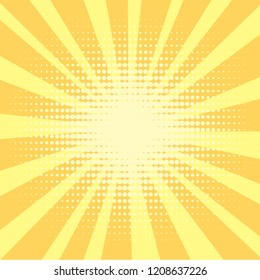 Pop art background, orange. rays of the sun are yellow and circles. Retro style, comic emulation. Procurement for a magazine, a poster or a newspaper. Raster illustration