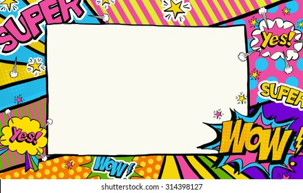 Pop Art background with place for text. Advertising frame.