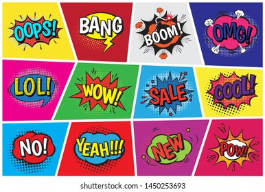 Pop art comic speech cartoon bubbles in popart style with humor text boom or bang bubbling expression asrtistic comics shapes set isolated on background illustration