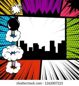 Pop art comics book magazine cover template. Cartoon funny vintage strip comic superhero, text speech bubble balloon, box message, burst bomb. Colored halftone illustration. Blank humor graphic