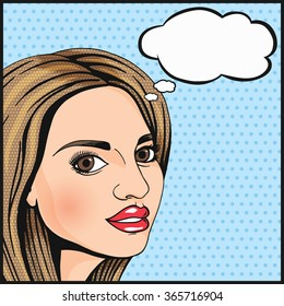 Pop Art cute girl thinking and smiling with thought cloud for your message. Modern woman wondering. Comics style dotted illustration.