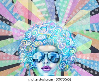 Pop art design. Nightflyer discotheque. Party invitation. Summer saturday lounge retro night. Disco club girl in sunglasses, standing on a reflective dance floor or has a backdrop of glowing lights.