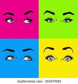 Pop art eyes cover design. Fashion advertisement illustration with eyes showing different emotions