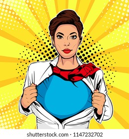 Pop art female superhero. Young sexy woman dressed in white jacket shows superhero t-shirt. Illustration in retro pop art comic style.