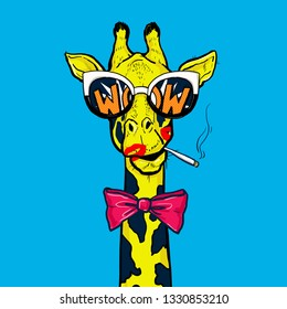 Pop art giraffe in glasses with red bow smoking cigarette.Wow.OMG.
