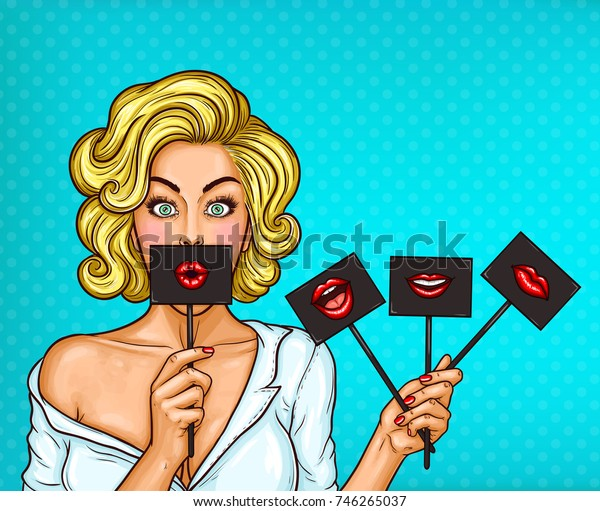 pop art illustration of a blond girl covering her mouth with black sign on stick with red lips.
