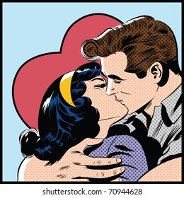 Pop Art illustration of a kissing couple