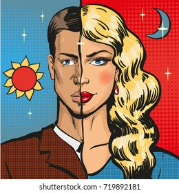 Pop art illustration of male wearing woman clothing at night. Travesty actor or transvestite in retro pop art comic style.