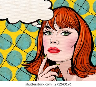 Pop Art illustration of redhead woman with the thought bubble. Party invitation or birthday greeting card design.