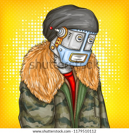 383f6df072369 pop art illustration of robot, android in fashion jacket, cap, modern  clothing.