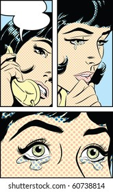 Pop Art illustration of a sad woman on the phone - dot