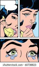 Pop Art illustration of a sad woman on the phone