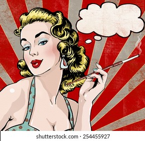 Pop Art illustration of woman with the speech bubble and cigarette. Vintage advertising poster of Hollywood movie or tobacco company with attractive female model in comics style.