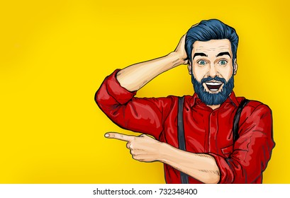 Pop art Man with shocked facial expression. Surprised male in comic style showing by finger. Smiling guy