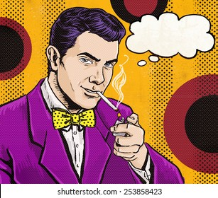 Pop Art Man smoking cigarette with speech bubble. Party invitation in secret agent movie style.