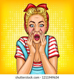 pop art pin up shocked retro vintage style girl with opened mouth. Adult middle age blonde housewife woman touching face with amazed expression. Illustration for sale discount promo advertising