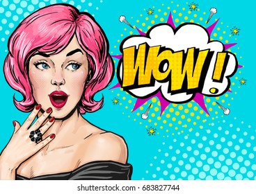 Pop Art pink hair woman with wow face . Advertising poster of sale or discount with sexy  girl.
