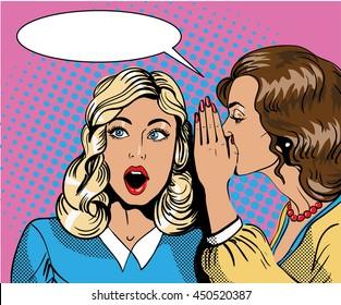 Pop art retro comic illustration. Woman whispering gossip or secret to her friend. Speech bubble.