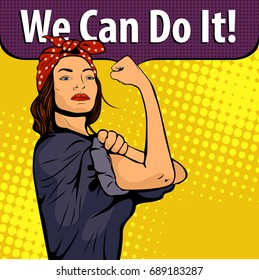 Pop art sexy strong woman symbol of female power woman rights protest feminism. Colorful pop art illustration in retro comic style. We Can Do It poster.