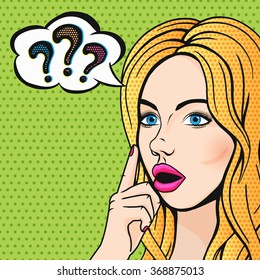 Pop art stupid woman face with question marks. Blonde thinking woman with open mouth comics style illustration.
