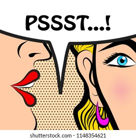 Pop Art style comic book panel gossip girl whispering in ear secrets with speech bubble, rumor, word-of-mouth concept