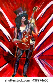 pop art style painting of a guitar player , rock , blues, punk, metal, grunge  alternative musician and fashion with musical instrument.