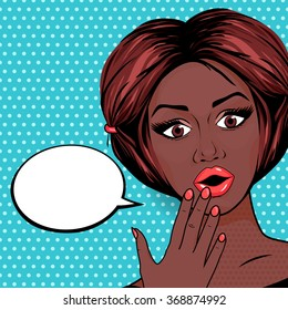 Pop Art Surprised African American woman with open mouth on dotted background. Retro Shocked Woman Face Illustration.