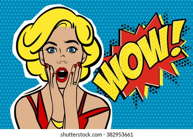 Pop art surprised blond woman face with open mouth. Comic woman with speech bubble.