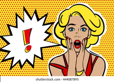 Pop art surprised blonde woman face with open mouth. Comic woman with speech bubble. Raster illustration.