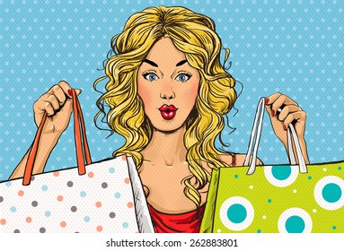 Pop Art woman with bags in the hands. Advertising poster of sale or discount with sexy blond girl.
