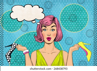 Pop Art woman with different shoes in hands and thought bubble. Advertising poster or flayer design with Shopaholic pink hair girl with heels. Announcement of low prices in the footwear store.
