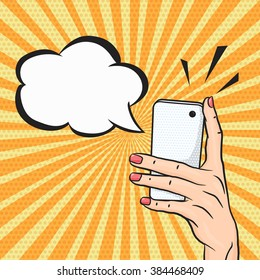 Pop art woman hand holding smart phone with speech bubble for text, telephone call concept in comic style