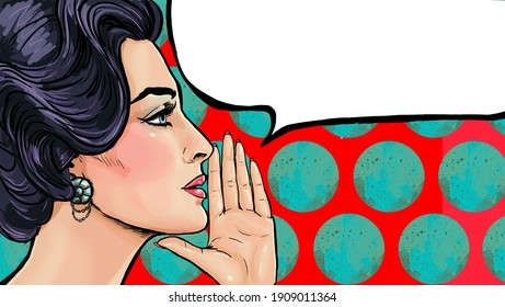 Pop art woman say something with speech bubble. Lady announcing discount or sale. Shopping time. Gossip woman