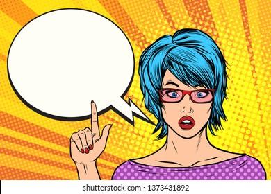Pop art woman wow blue hair retro  illustration